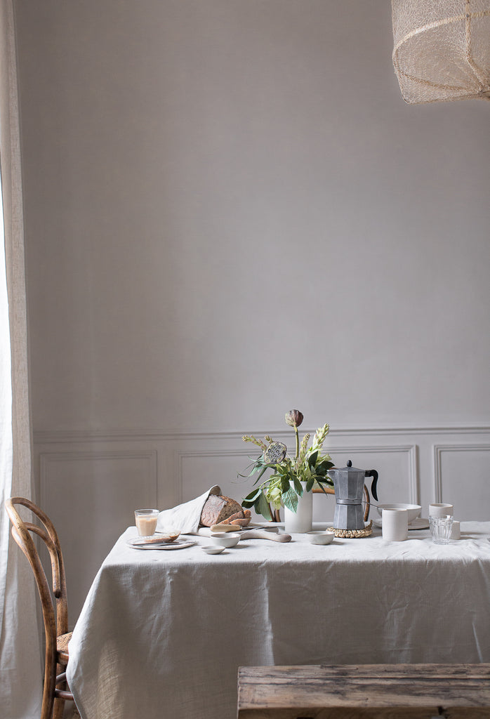 simple natural breakfast table in neutral colours
