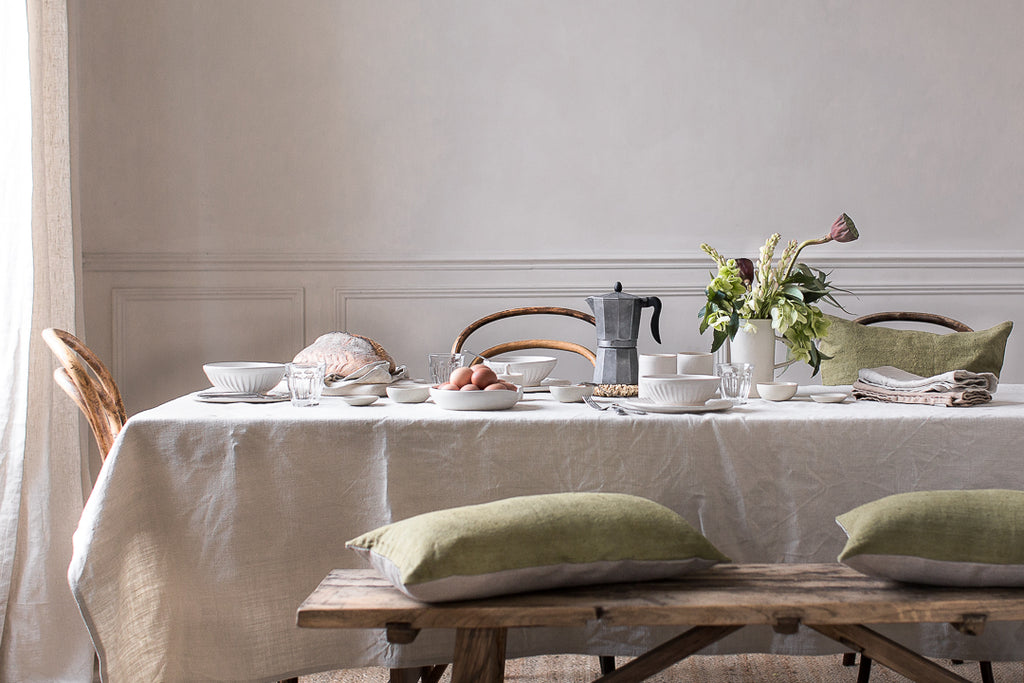 breakfast table setting for simple slow living