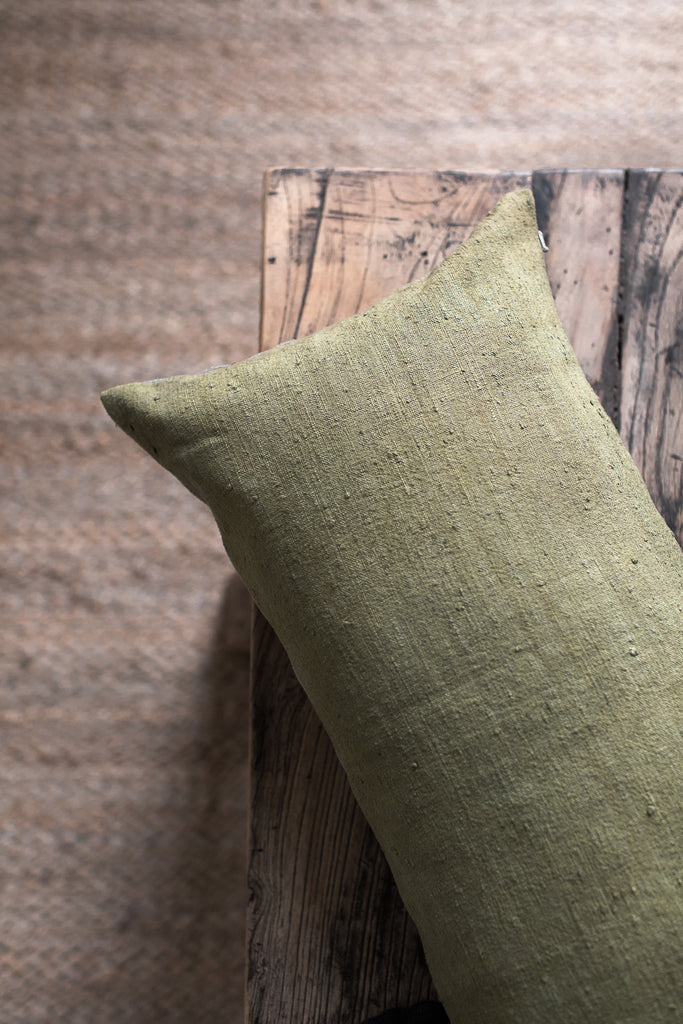 linen cushion cover made with antique hand dyed linen in green