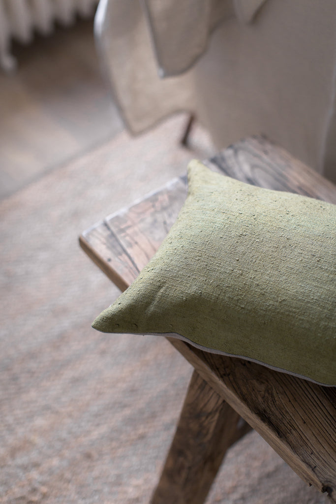 hand dyed vintage linen cushion cover in green