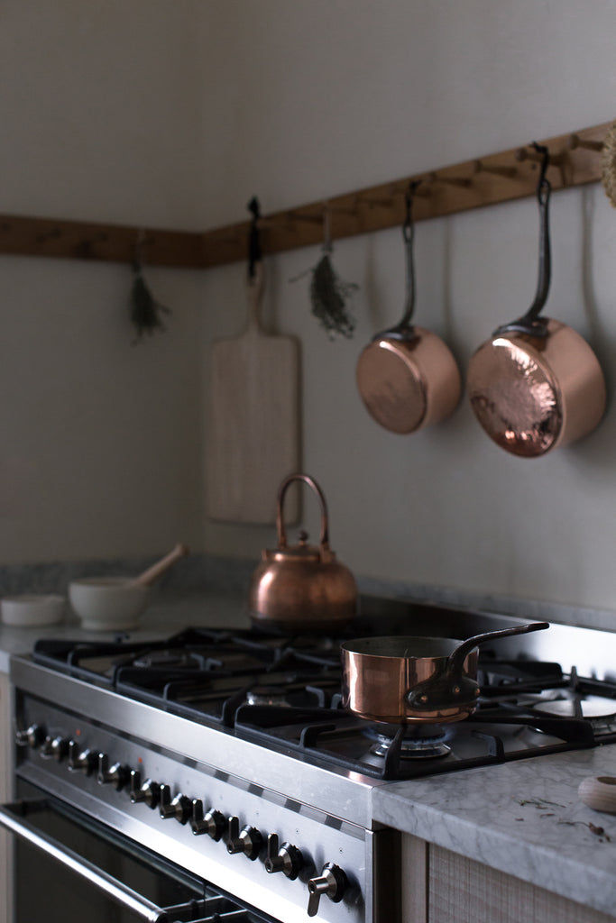smeg range and copper pots