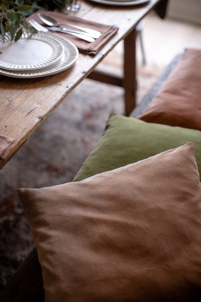 velvet cushion covers in muted colours