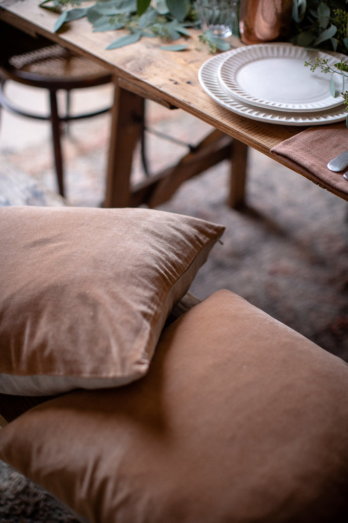 soft copper hand dyed velvet cushions