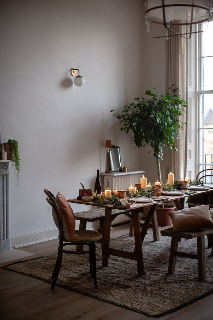 simple natural festive dinner table