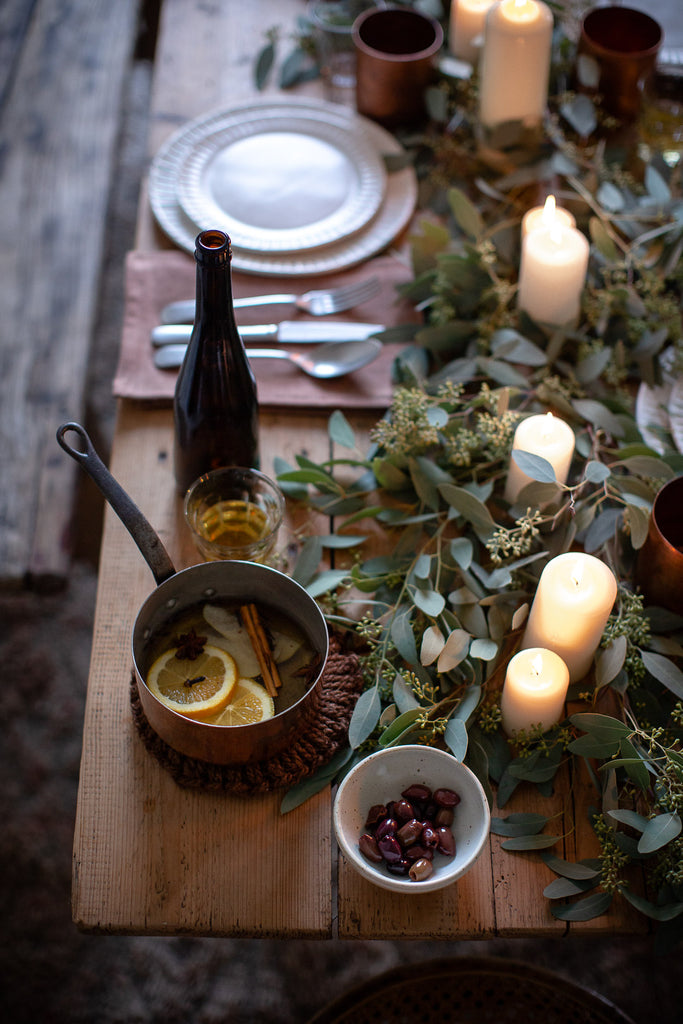 natural festive table with eucalyptus