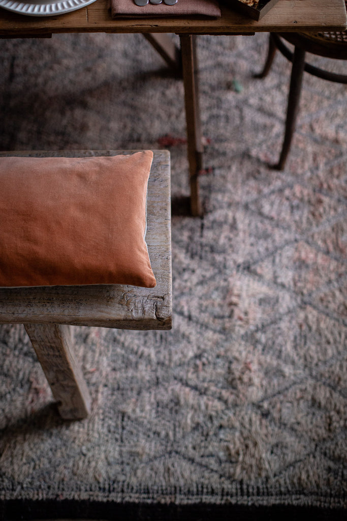 hand dyed copper velvet cushion