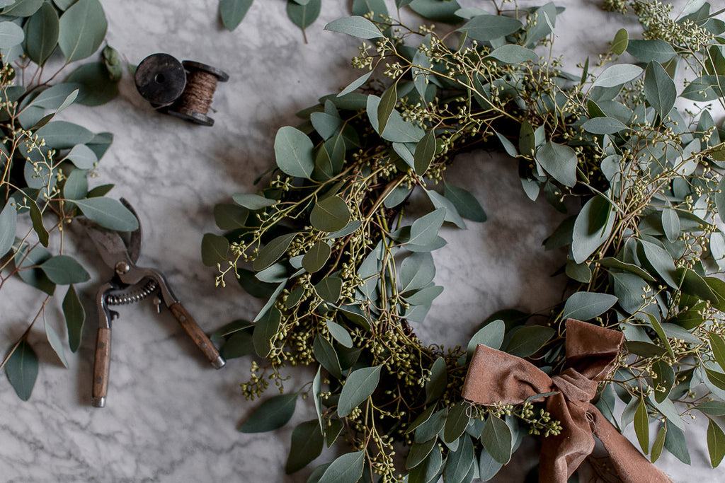 green and copper wreath