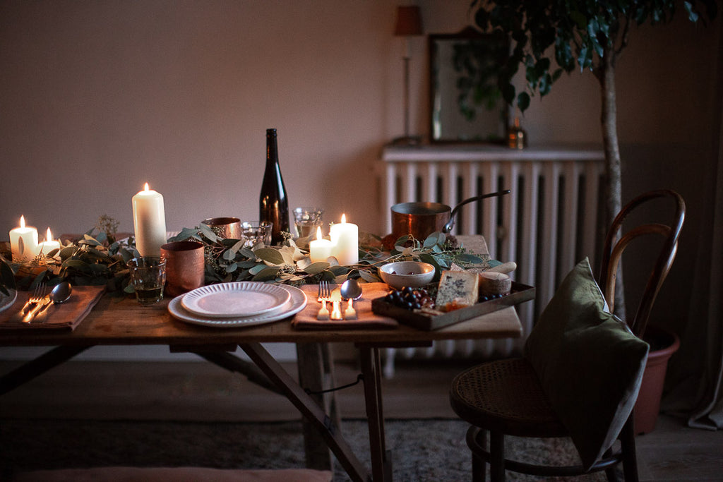 copper and green tablescape with eucalyptus