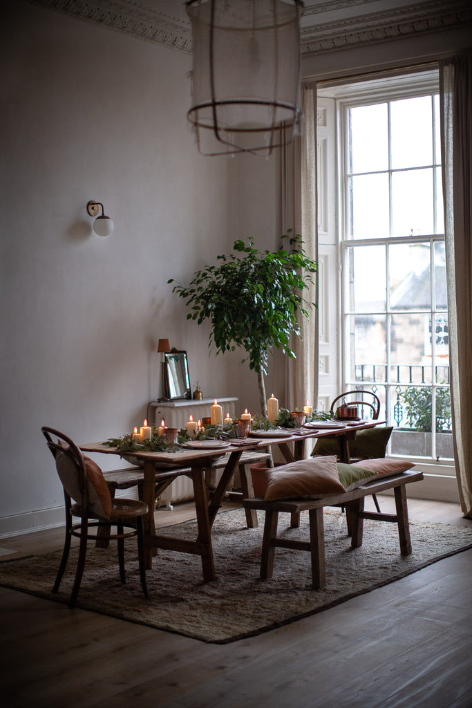 natural festive table by big window