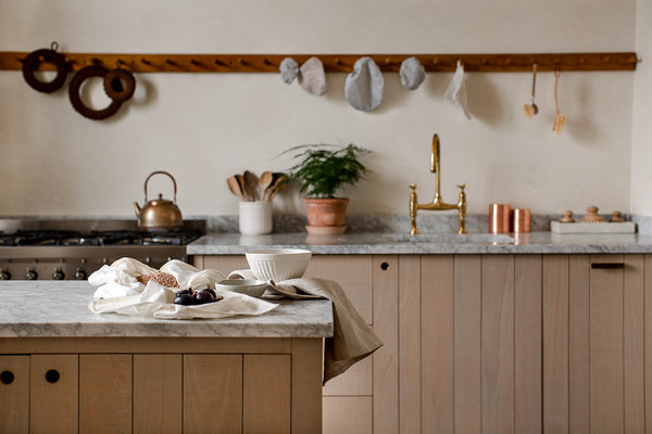 natural kitchen with wood and marble