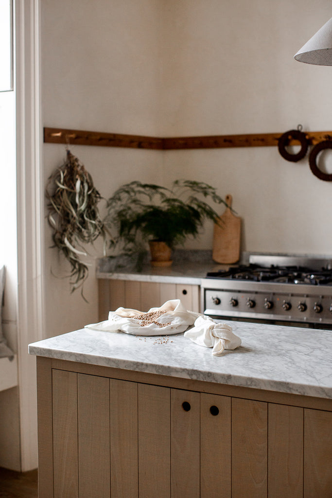 natural modern kitchen with marble and wood