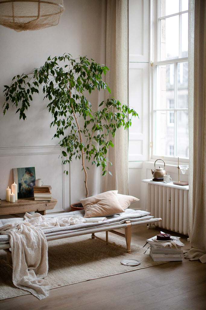 home decor in soft colours and natural materials