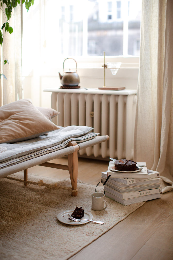 natural home decor with linen, cotton, wool and wood