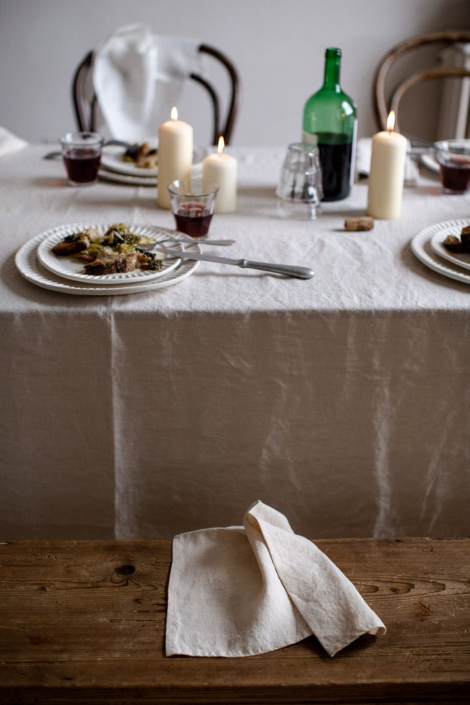 cream handmade linen tablecloth and napkins