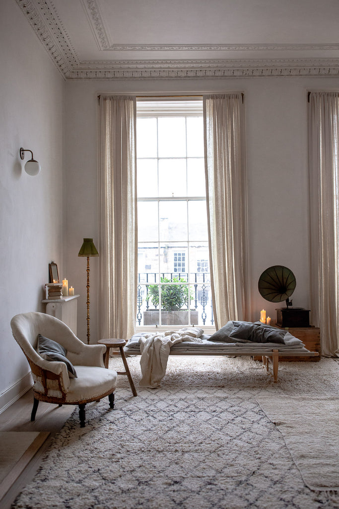 natural organic living room with linen and wool