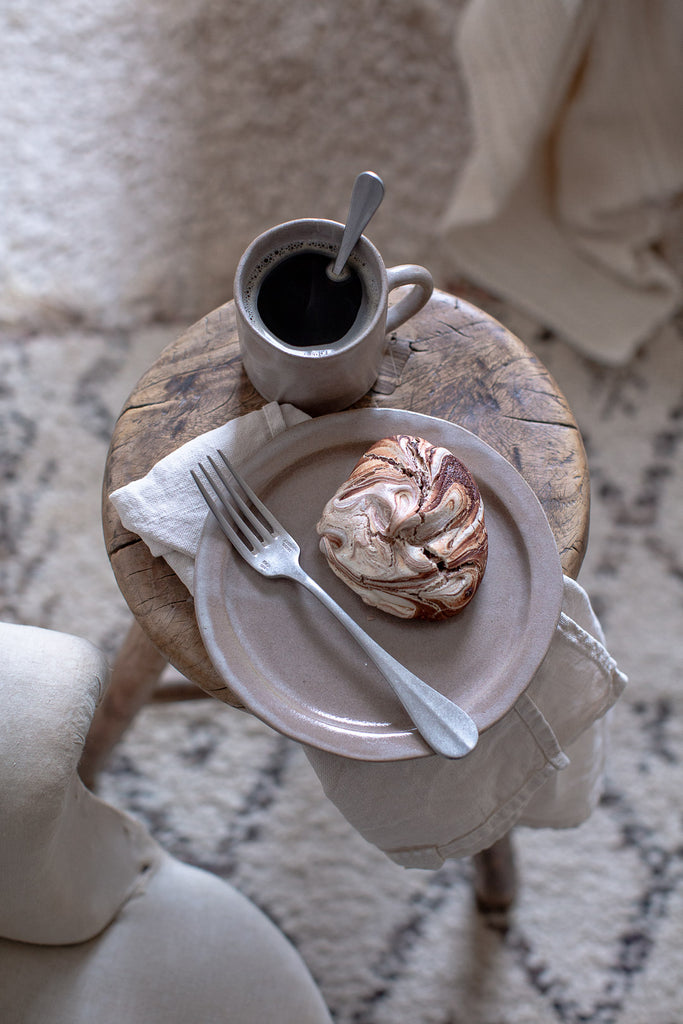 handmade soft grey ceramic plate and cup