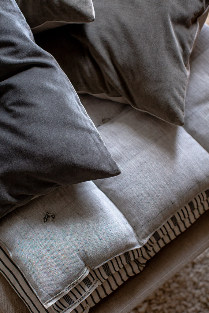 hand dyed muted blue cushion covers