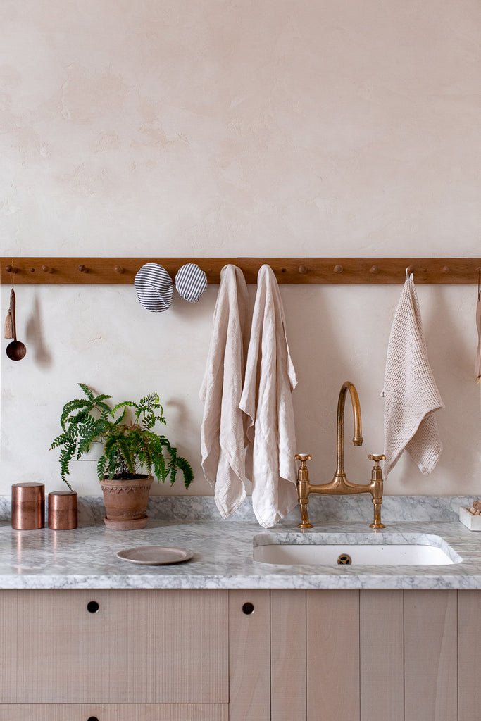 handmade linen kitchen towel in warm cream