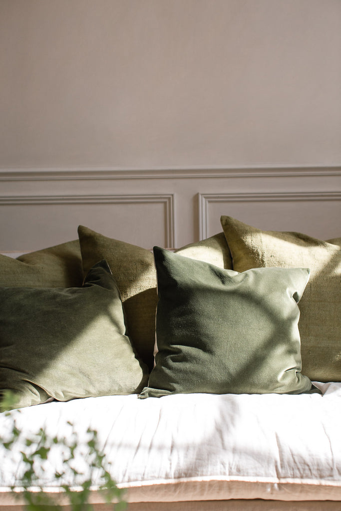 Hand dyed luxurious green velvet cushion covers