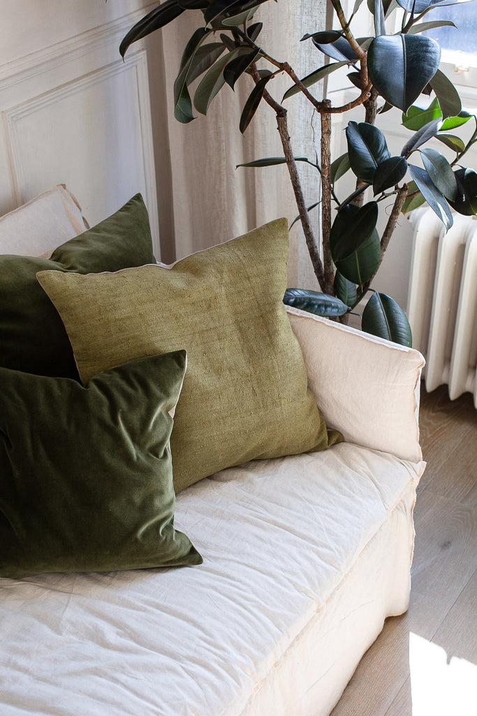 green vintage linen and hand dyed green velvet cushion covers