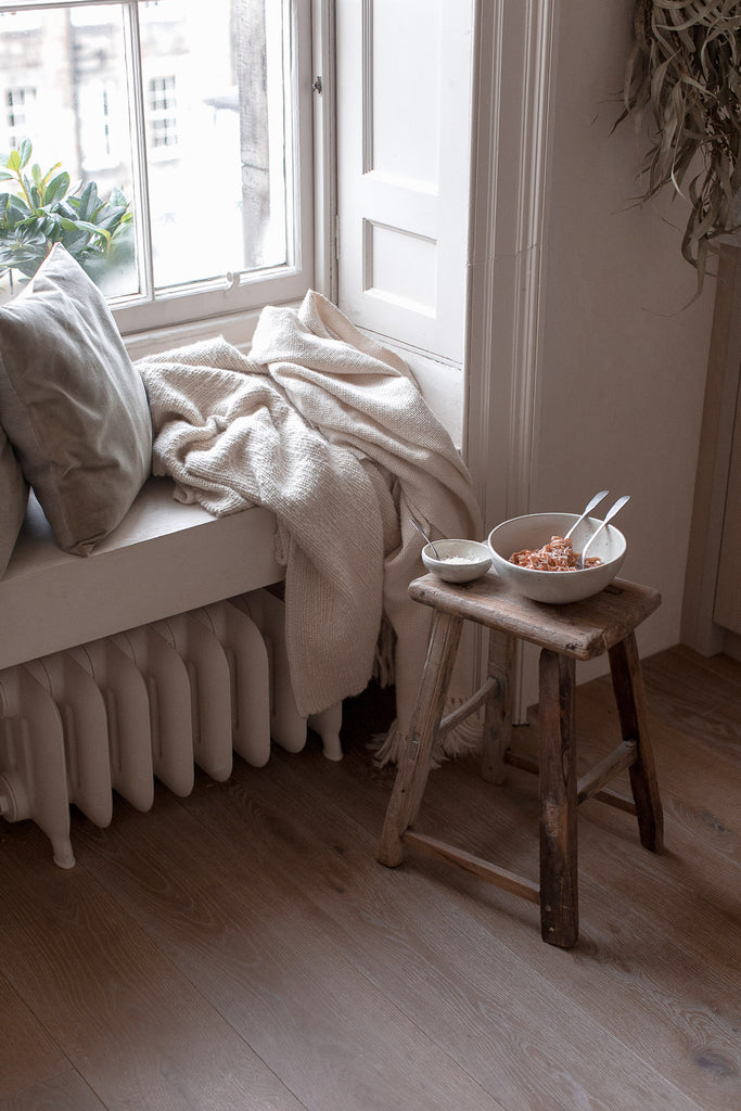 slow living kitchen window seat