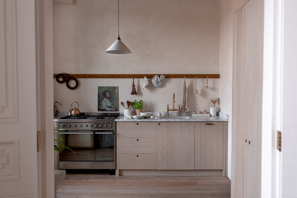 natural kitchen with textured plaster walls