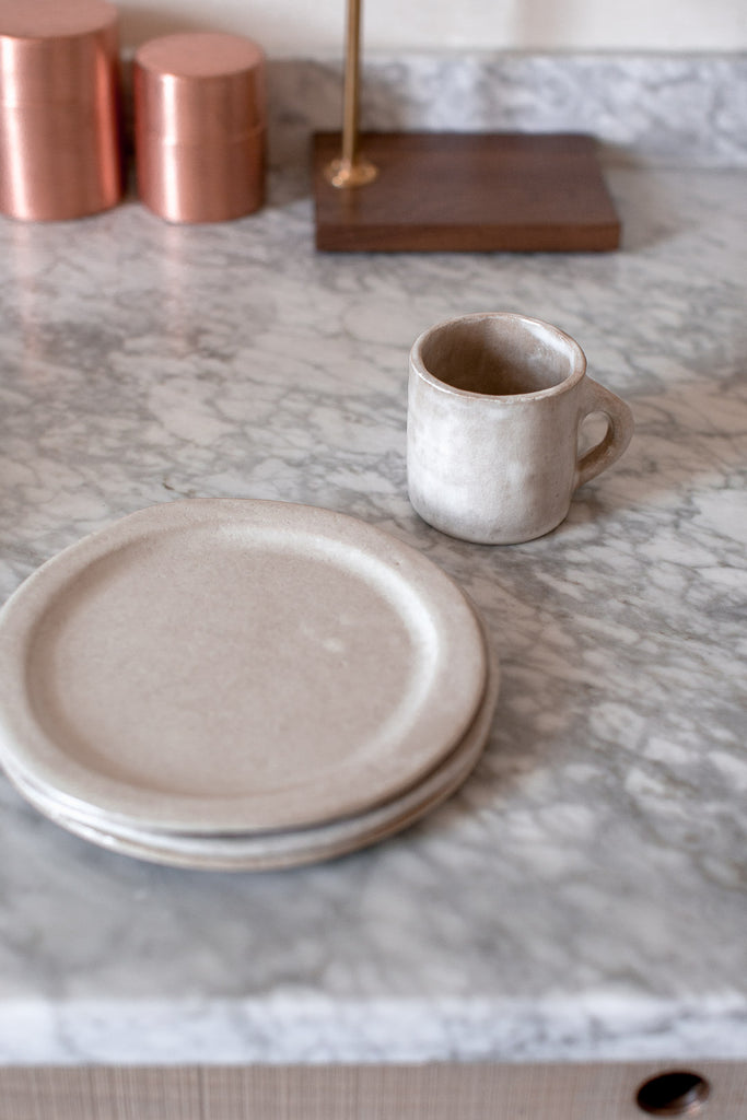 organic handmade ceramic cups and plates for a natural home