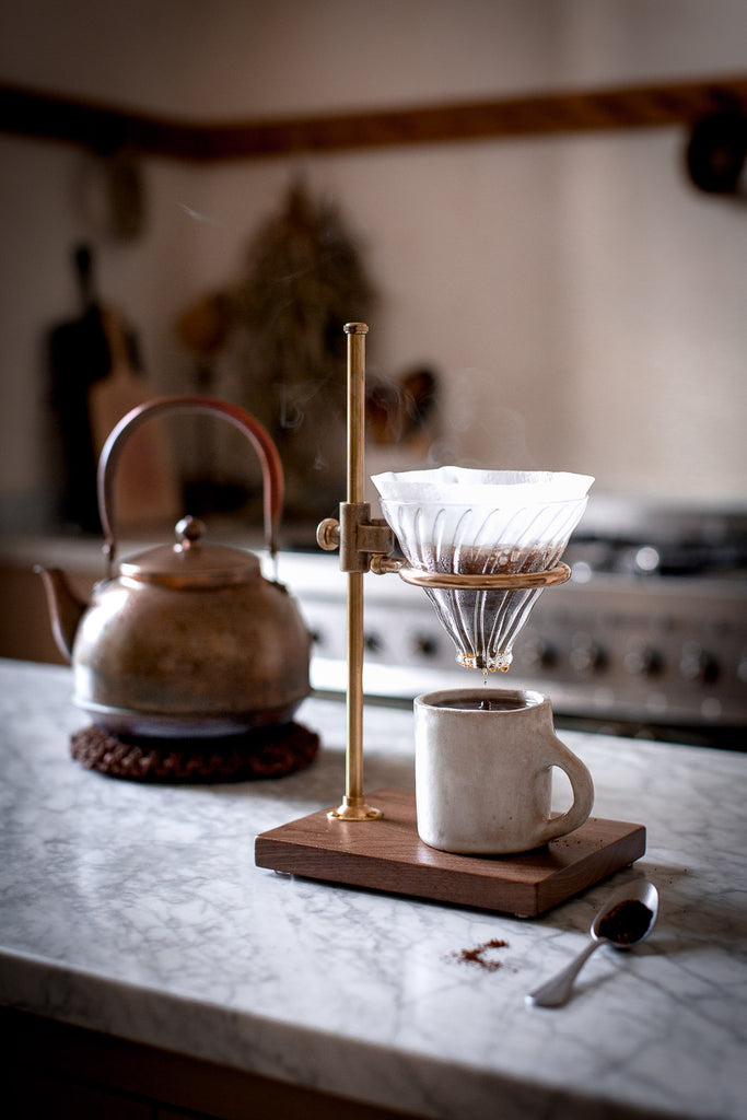 brass chemistry style handmade coffee maker pour over