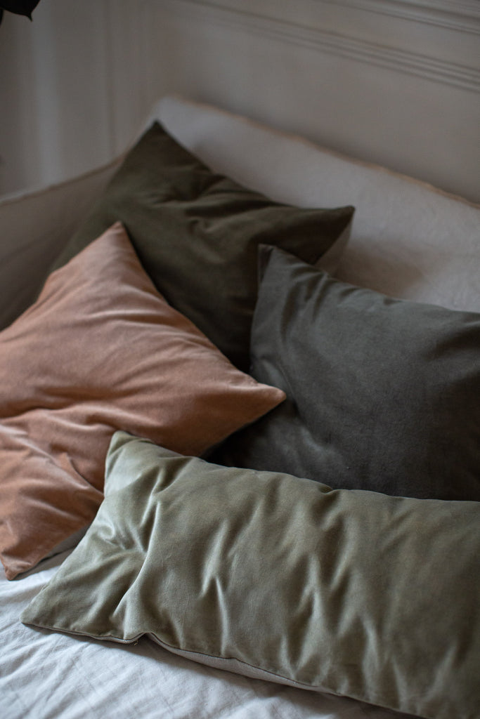 luxury velvet cushion covers in muted colours