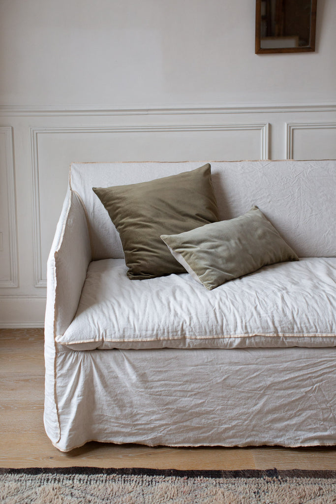velvet cushion covers in soft natural colours
