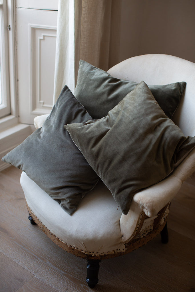 muted blue and green velvet cushion covers
