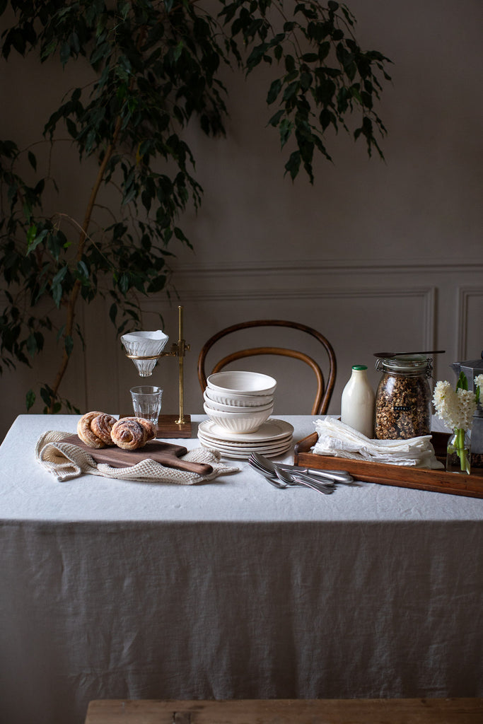 simple, natural breakfast table with linen