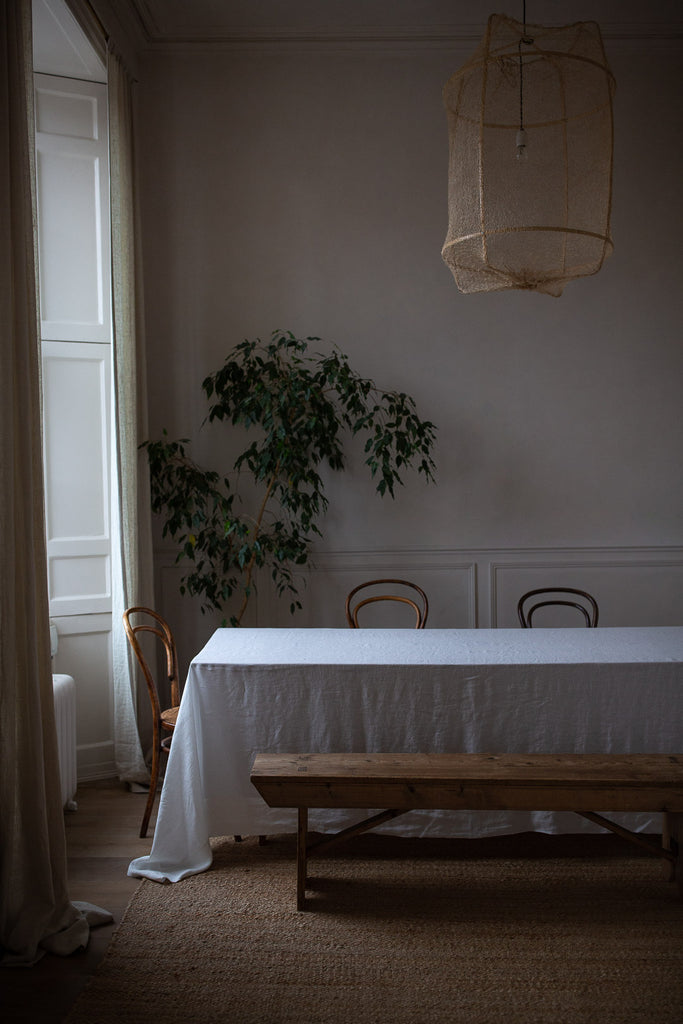 large handmade linen tablecloth with wide boarder