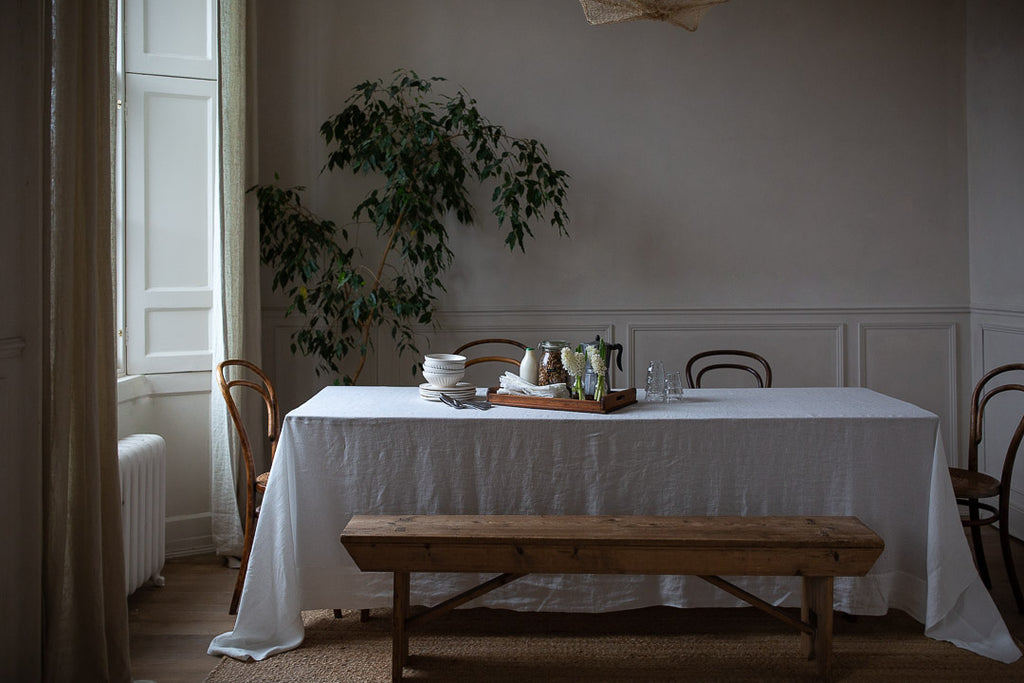 large luxury white linen tablecloth