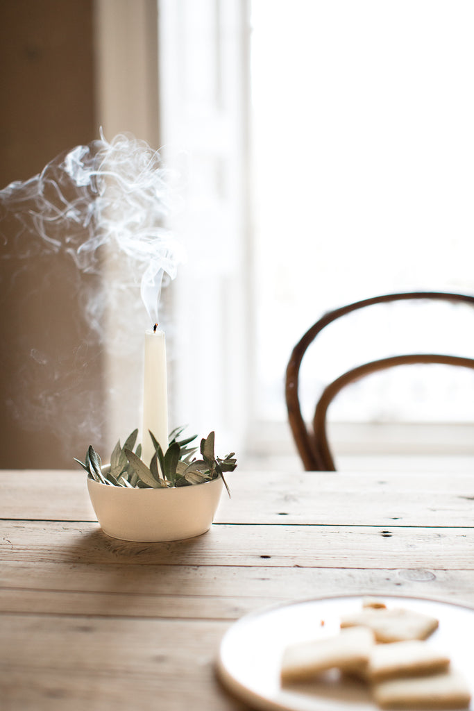 INGREDIENTS LDN candle holder with olive leaves
