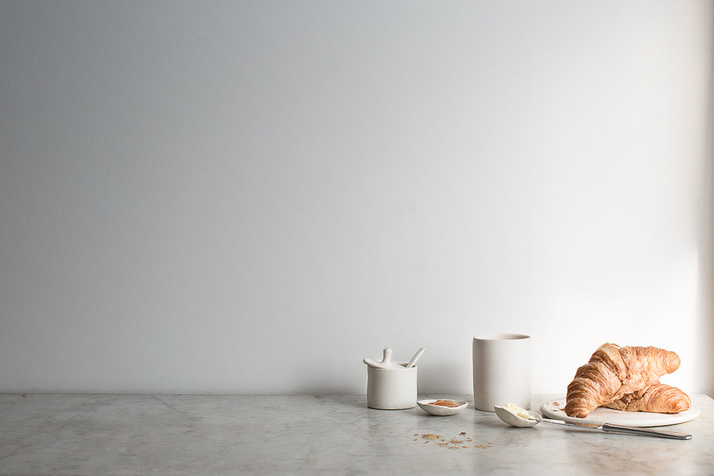 Simple matte ceramic breakfast dishes