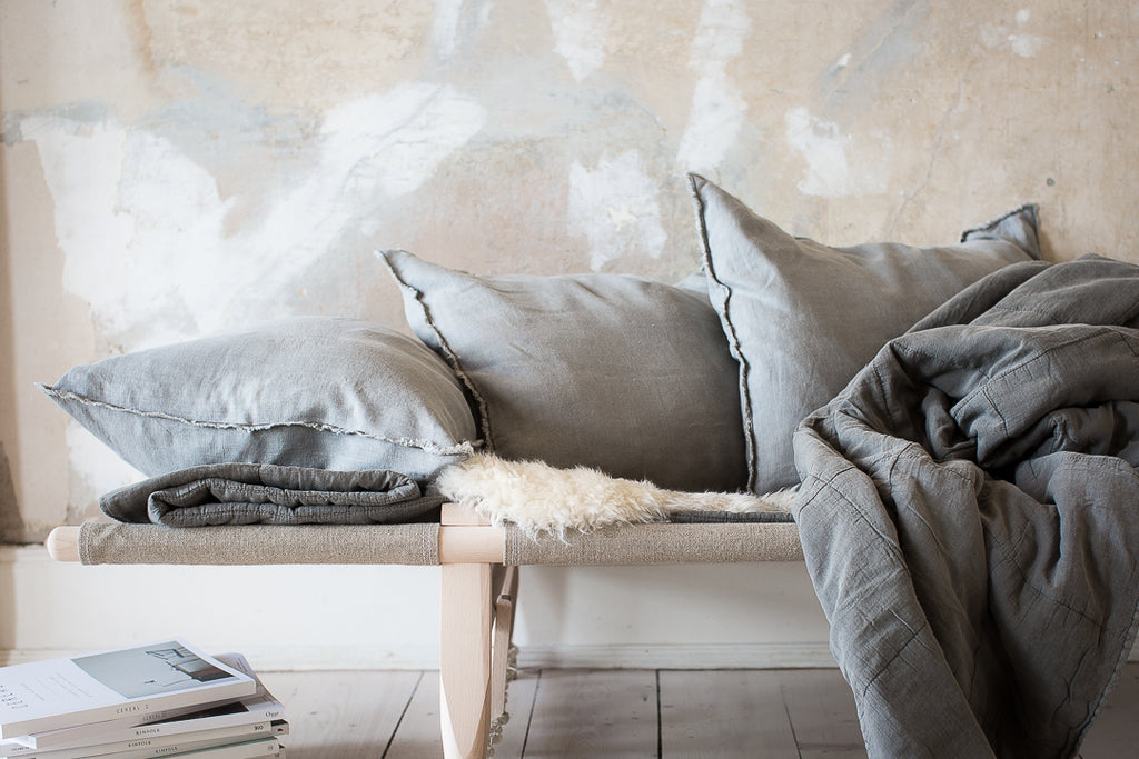 INGREDIENTS LDN safari daybed simple grey  quilt and grey linen cushions