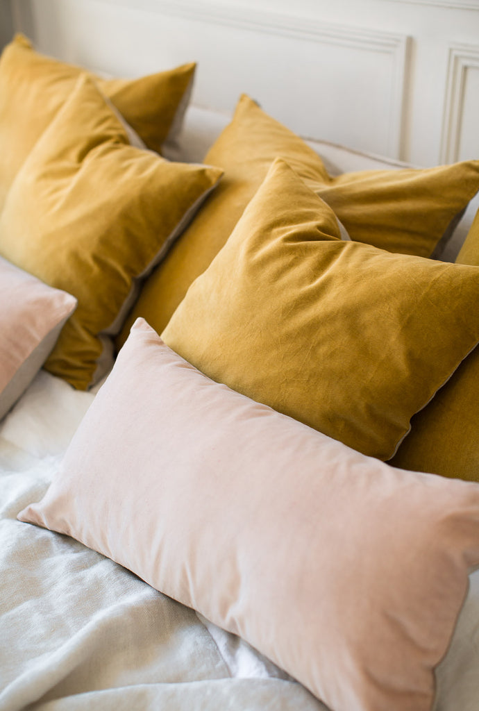 mustard yellow and pink velvet cushion covers