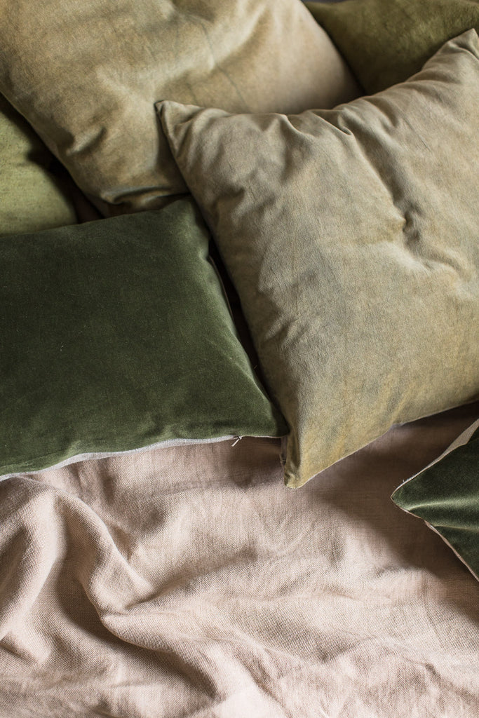 unique hand dyed velvet and linen cushion covers in green