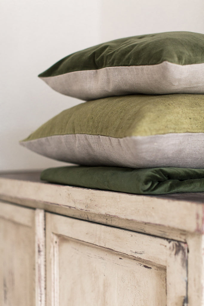 hand dyed linen and velvet cushion covers in green