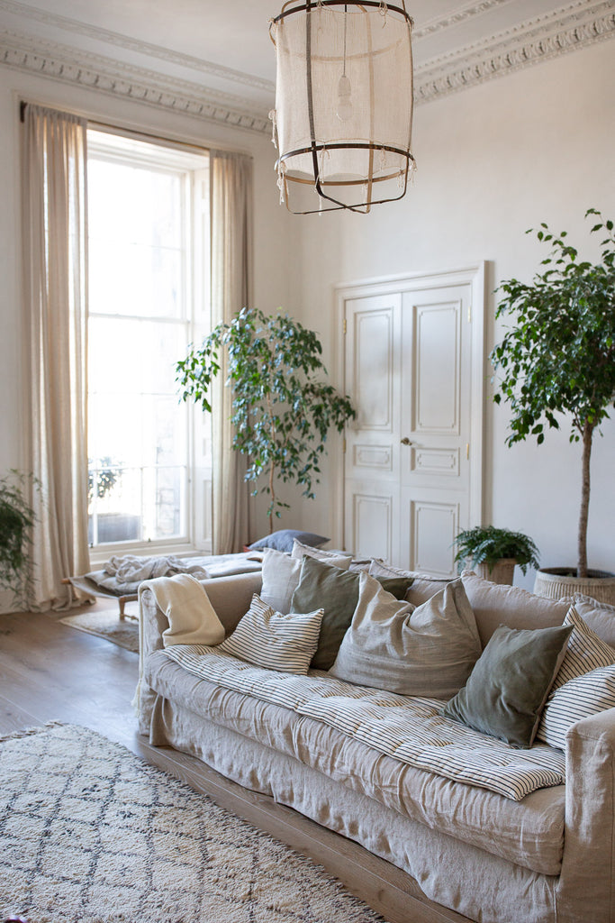 natural organic living room decor with plants