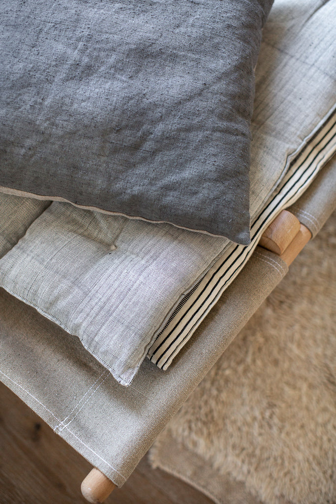hand dyed antique linen cushion covers in blue grey