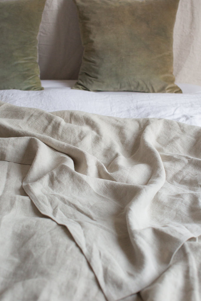 ethical sustainable  Belgian linen bed cover blanket throw in natural neutral colours