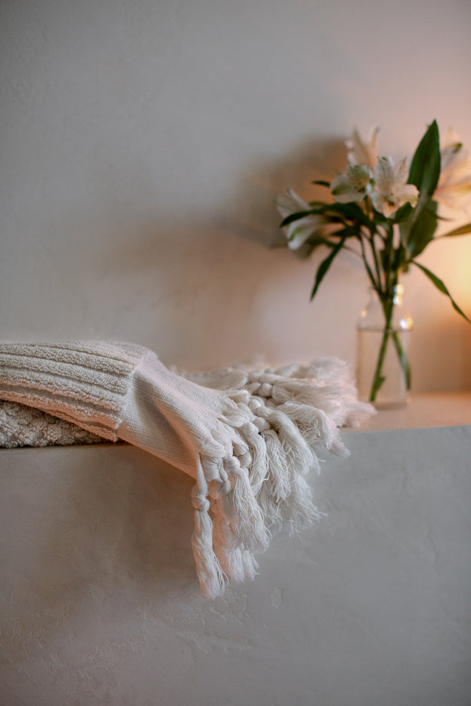stripped organic cotton towels with tassels