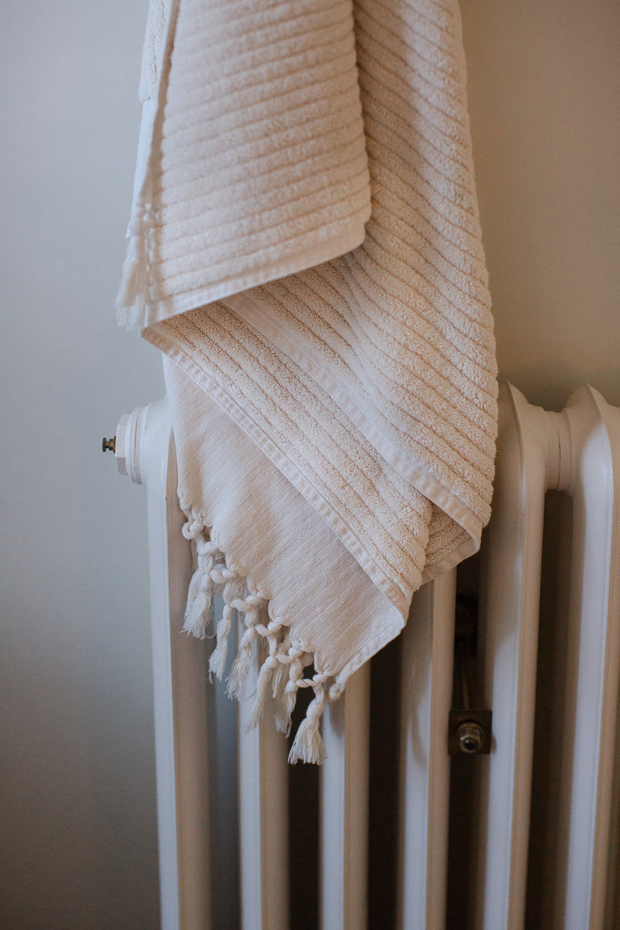 luxury handwoven stripped organic cotton towels with tassels