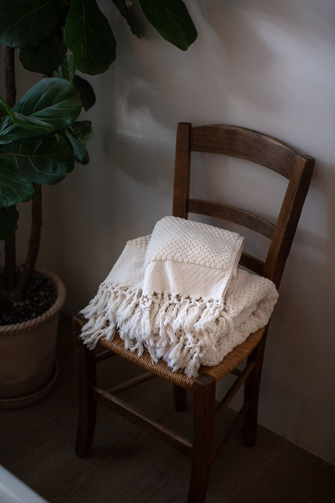 handwoven organic cotton towels in ecru with tassels