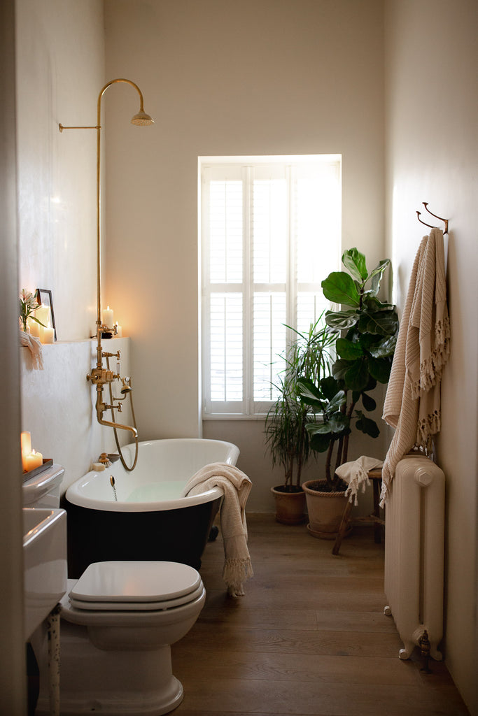 natural bathroom with plants