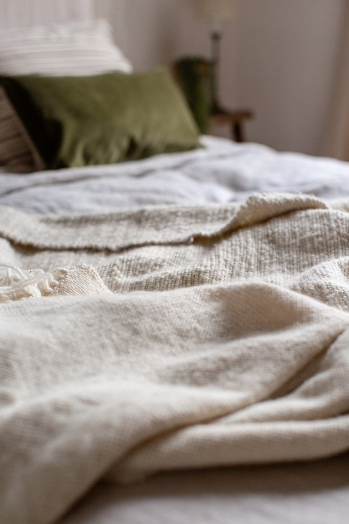 ethically sustainably made soft merino wool bedroom blanket