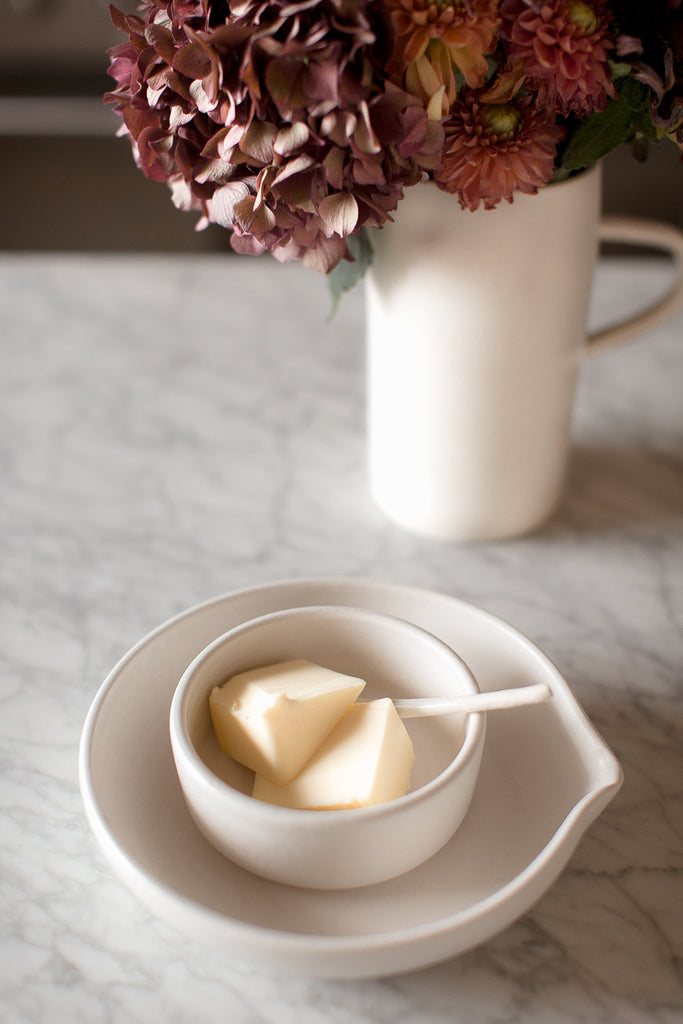 handmade ceramic butter bowl with spoon