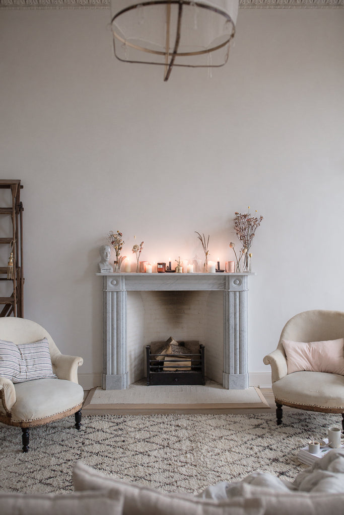 marble fireplace candlelight atmosphere